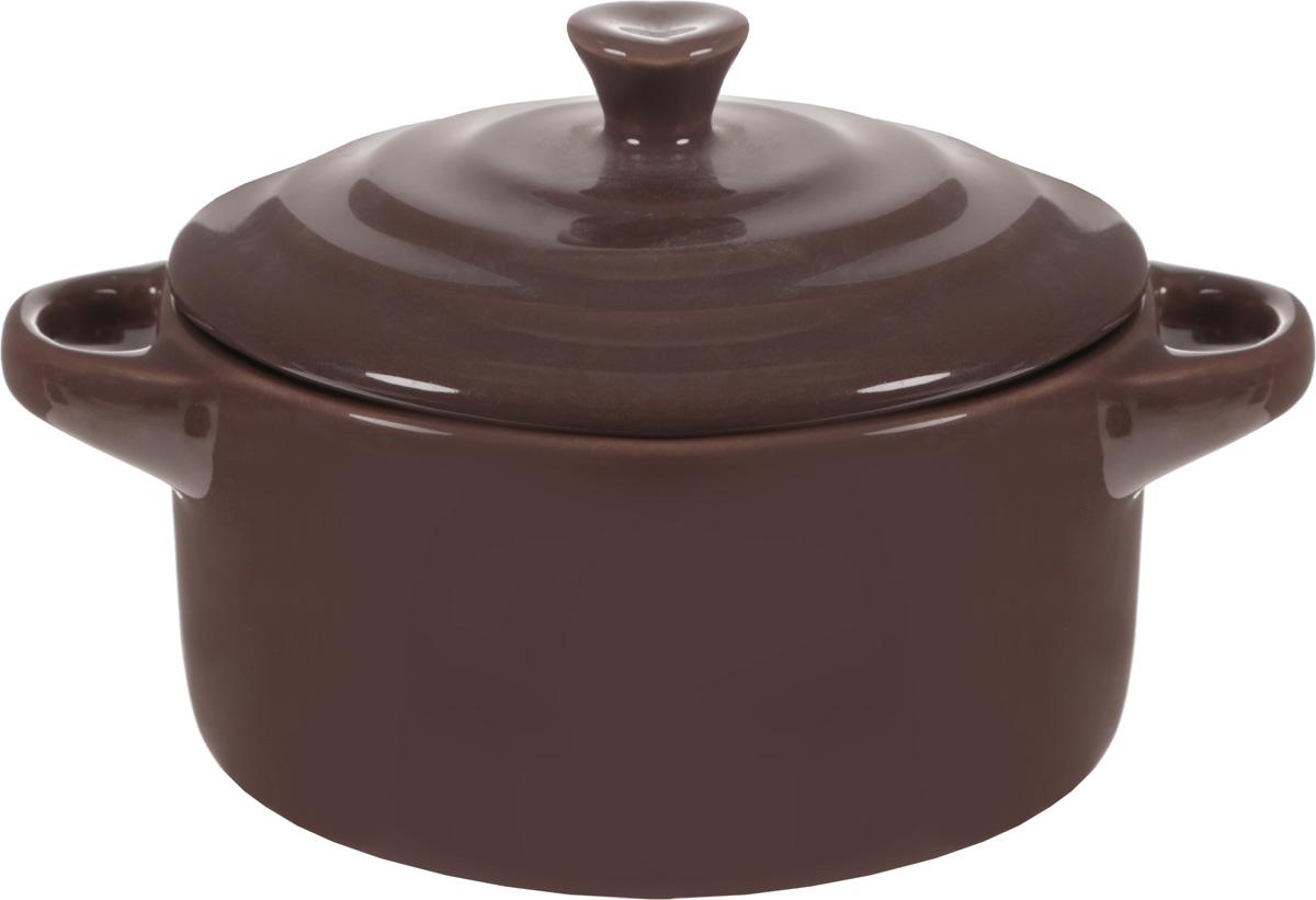 Форма для запекания Calve, круглая, с крышкой, цвет: пепельно-коричневый, диаметр 10 смРАД00000380_салатовый, оранжевыйФорма для запекания Calve, выполненная из жаропрочной глазурованной керамики, оснащена крышкой и удобными ручками. Изделие можно использовать в духовке. Во время процесса приготовления посуда из керамики впитывает лишнюю влагу из продукта и хранит тепло. Диаметр формы (по верхнему краю): 10 см.Ширина формы (с учетом ручек): 13,5 см. Высота формы (без учета крышки): 5 см.