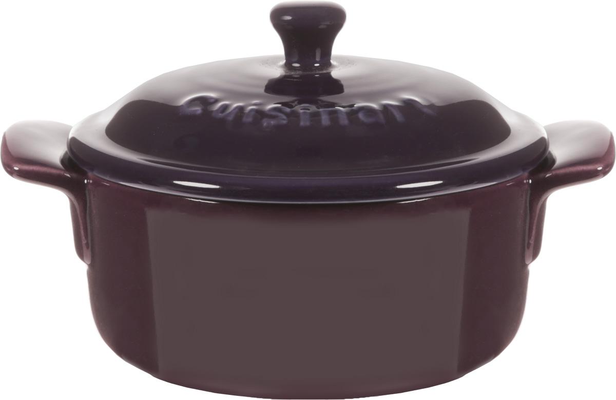 Форма для запекания Calve, круглая, с крышкой, цвет: фиолетовый, диаметр 10 см. P066FS-91909Форма для запекания Calve, выполненная из жаропрочной глазурованной керамики, оснащена крышкой и ручками. Изделие можно использовать в духовке. Во время процесса приготовления посуда из керамики впитывает лишнюю влагу из продукта и хранит тепло. Диаметр формы (по верхнему краю): 10 см.Ширина формы (с учетом ручек): 13,5 см. Высота формы (без учета крышки): 5 см.