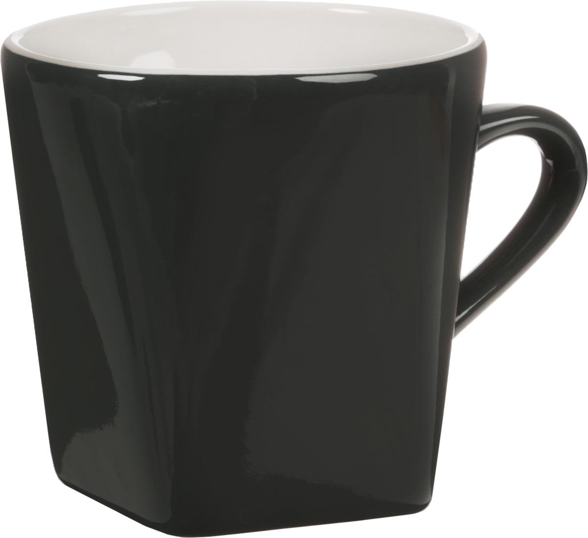 Кружка Calve, цвет: темно-серый, слоновая кость, 320 мл26524Кружка Loraine Calve, изготовленная из глазурованной керамики, оснащена удобной ручкой и имеет классический дизайн. Благодаря своим термостатическим свойствам, изделие отлично сохраняет температуру содержимого. Диаметр (по верхнему краю): 9 см. Высота кружки: 9 см. Объем: 320 мл.