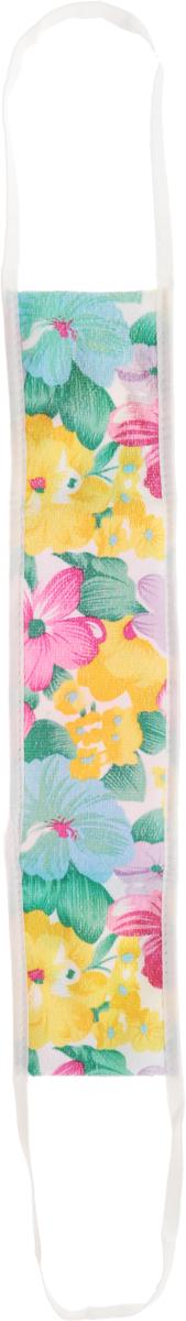 Мочалка массажная Eva, с ручками, цвет: розовый, белый, желтый, 50 х 11 см. М3445010777139655Мочалка массажная Eva средней жесткости отлично тонизирует и очищает кожу. Верх мочалки имеет две различные по текстуре поверхности: одна сторона выполнена из 100% полиамида, а другая - из полиэстера с добавлением полиамида. Внутри - небольшой поролоновый слой. Благодаря такой структуре изделие отлично пенится. Мочалка дополнена цветочным принтом и удобными ручками. Изделие подходит для всех типов кожи и не вызывает аллергии. Уровень жесткости: средний.
