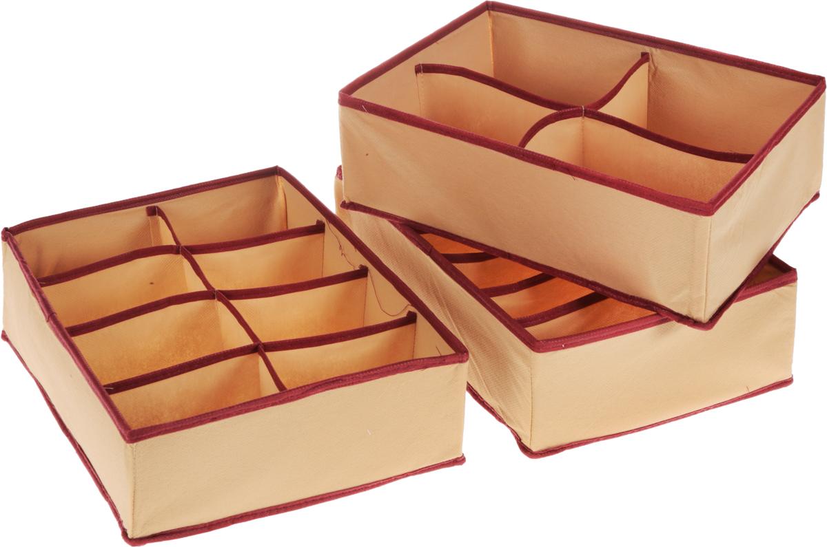 Набор органайзеров Homsu Стандарт, цвет: бежевый, бордовый, 3 штKT400(4)Набор Homsu Стандарт состоит из 3 вместительных органайзеров с 6, 4 и 8 раздельными секциями. Изделия выполнены из полиэстера, спанбонда и картона. Подходят для хранения мелких вещей в ящике или на полке. Идеально подойдут для носков, платков, галстуков и других вещей ежедневного пользования.Размер органайзера (в собранном виде): 31 x 24 x11 см.