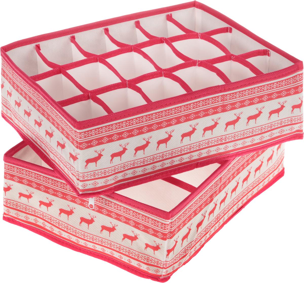 Органайзер Homsu Scandinavia, 31 х 24 х 11 см, 2 штDEN-20Комплект Homsu Scandinavia, выполненный из полиэстера, спанбонда и картона состоит из двух прямоугольных органайзеров с 18 и 8 раздельными ячейками. Изделия очень удобны для хранения мелких вещей в ящике или на полке. Идеально подойдут для носков, платков, галстуков и других вещей ежедневного пользования. Имеют жесткие борта, что является гарантией сохранности вещей. Размер органайзера (в собранном виде): 31 x 24 x11 см.Размер ячеек: 7 х 5 см; 12 х 8 см.