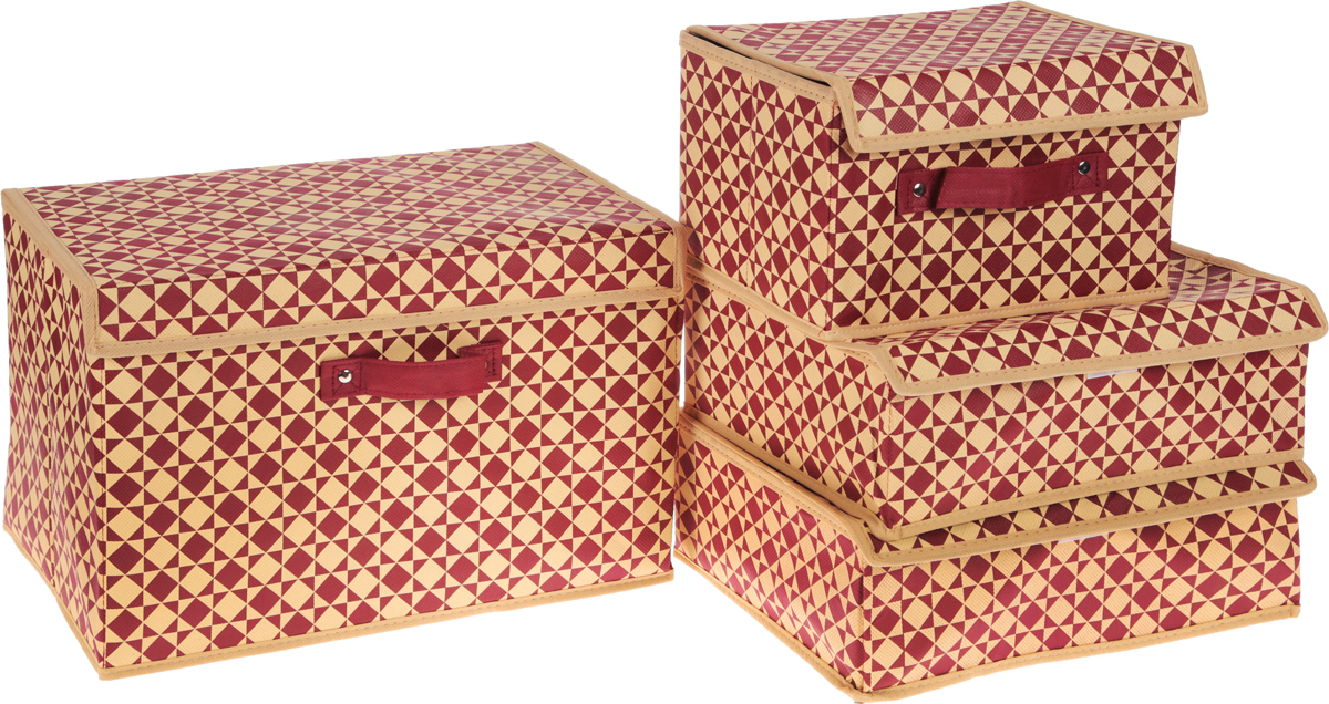 Набор органайзеров Homsu Scandinavia, цвет: бежевый, бордовый, 4 штБрелок для ключейНабор Homsu Scandinavia состоит из двух вместительных кофров и двух прямоугольных органайзеров с 18 и 6 раздельными ячейками. Изделия, выполненные из полиэстера, спанбонда и картона, оснащены крышками. Подходят для хранения мелких вещей в ящике или на полке. Идеально подойдут для носков, платков, галстуков и других вещей ежедневного пользования. Имеют жесткие борта, что является гарантией сохранности вещей. Размер органайзера (в собранном виде): 31 x 24 x11 см.Размер кофра: 19 х 25 х 16 см; 38 х 25 х 25 см.Размер ячеек: 7 х 5 см; 23 х 5 см.