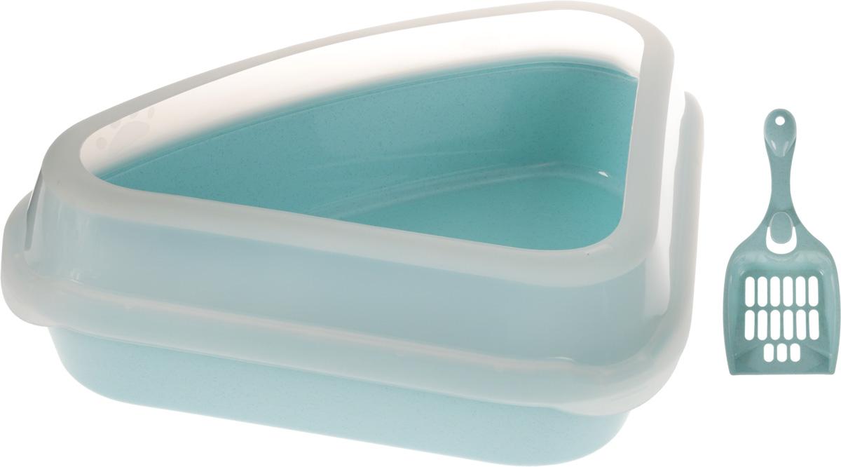 Туалет для кошек Каскад, с бортом, с совком, цвет: голубой, 55 х 40 х 15 см00000000005Туалет для кошек Каскад изготовлен из качественного прочного пластика. Высокий борт, прикрепленный по периметру лотка, удобно защелкивается и предотвращает разбрасывание наполнителя. Это самый простой в употреблении предмет обихода для кошек и котов. К лотку прилагается совок для уборки кошачьего туалета, изготовленный из качественного пластика. Совок с крупной сеткой позволит освободить туалет от образовавшихся комков и просеять наполнитель. На ручке совка есть отверстие для подвешивания на стену. С помощью этого совка вы сможете быстро и качественно убрать туалет кошки. Размер лотка: 55 х 40 х 15 см. Длина совка: 23 см. Рабочая поверхность совка: 10 х 10 х 3 см.