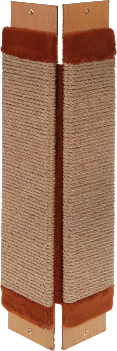 Когтеточка Adel-Pet Угловая, с пропиткой, веревочная, цвет: коричневый, бежевый, длина 60 см0120710Когтеточка Adel-Pet Угловая поможет сохранить мебель и ковры в доме от когтей вашего любимца, стремящегося удовлетворить свою естественную потребность точить когти. Когтеточка изготовлена из ДСП, синтетики и сизаля. Товар продуман в мельчайших деталях и, несомненно, понравится вашей кошке. Всем кошкам необходимо стачивать когти. Когтеточка - один из самых необходимых аксессуаров для кошки. Для легкого приучения питомца изделиеобработано привлекающей пропиткой.Длина когтеточки: 60 см.