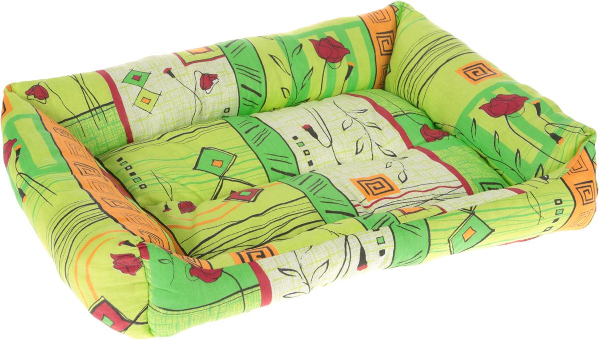 Лежак для животных Elite Valley Пуфик, цвет: зеленый, желтый, красный, 56 х 43 х 16 см0120710Мягкий и уютный лежак Elite Valley Пуфик обязательно понравится вашему питомцу. Он выполнен из высококачественной бязи, а наполнитель - холлофайбер. Такой материал не теряет своей формы долгое время. Борта и встроенный матрас обеспечат вашему любимцу уют.Мягкий лежак станет излюбленным местом вашего питомца, подарит ему спокойный и комфортный сон, а также убережет вашу мебель от многочисленной шерсти.