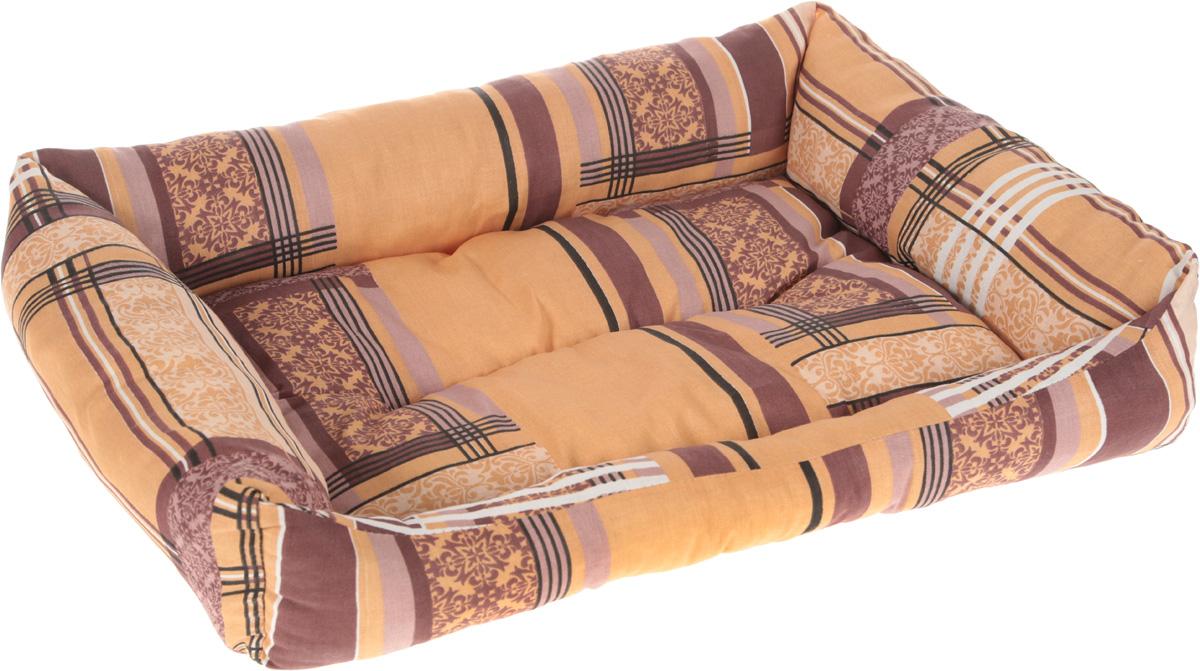 Лежак для животных Elite Valley Пуфик, цвет: коричневый, бежевый, белый, 56 х 43 х 16 см0120710Мягкий и уютный лежак Elite Valley Пуфик обязательно понравится вашему питомцу. Он выполнен из высококачественной бязи, а наполнитель - холлофайбер. Такой материал не теряет своей формы долгое время. Борта и встроенный матрас обеспечат вашему любимцу уют.Мягкий лежак станет излюбленным местом вашего питомца, подарит ему спокойный и комфортный сон, а также убережет вашу мебель от многочисленной шерсти.