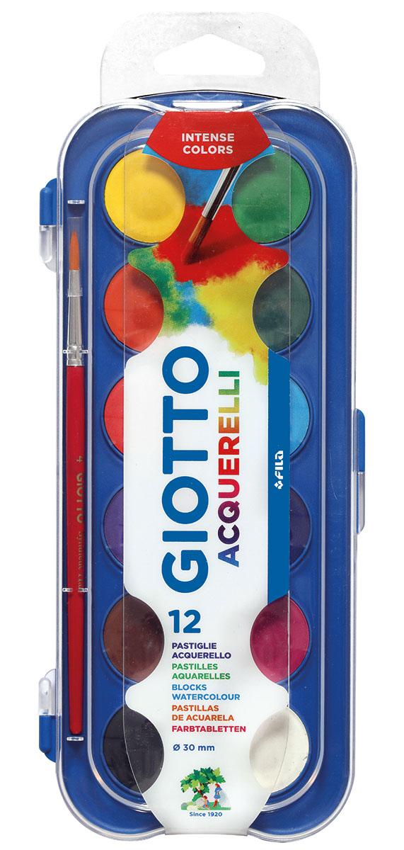 Giotto Акварель Watercolors 12 цветов351200Сухая акварель в таблетках, 12 цвета. Спрессованный концентрированный цветовой пигмент, диаметр таблеток 30 мм. Интенсивные цвета идеально смешиваются между собой и размываются до полной прозрачности водой. Быстро высыхает на поверхности листа. Легко отмывается от рук. В наборе с кистью.