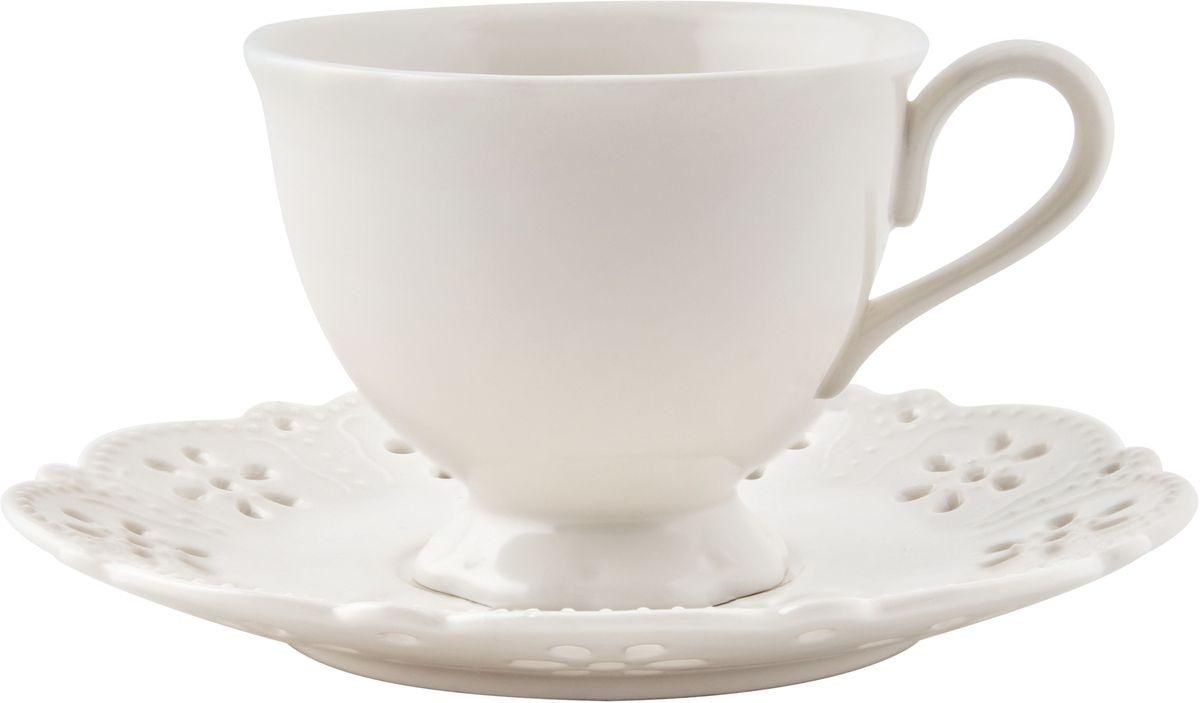 Чайная пара Elff Decor Rishelie, 200 мл, 2 предмета115510Чайная пара из серии посуды Ришелье с ажурным узором и белоснежной поверхностью, в которой каждый предмет выглядит невероятно нежно и изысканно.Эта роскошная коллекция - образец гармоничного дизайна и нового стиля.