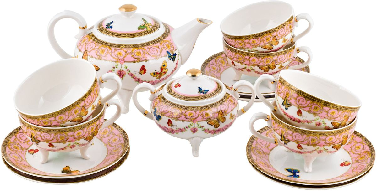 Набор чайный Elff Decor Italy Design, 14 предметов115510Чайный сервиз из серии посуды Italy design, в которой каждый предмет выглядит невероятно нежно и изысканно. Нежные цветы и порхающие бабочки, эта роскошная коллекция - образец гармоничного дизайна в романтическом стиле. Оригинальная посуда на ножках сделает неповторимым ваш интерьер !