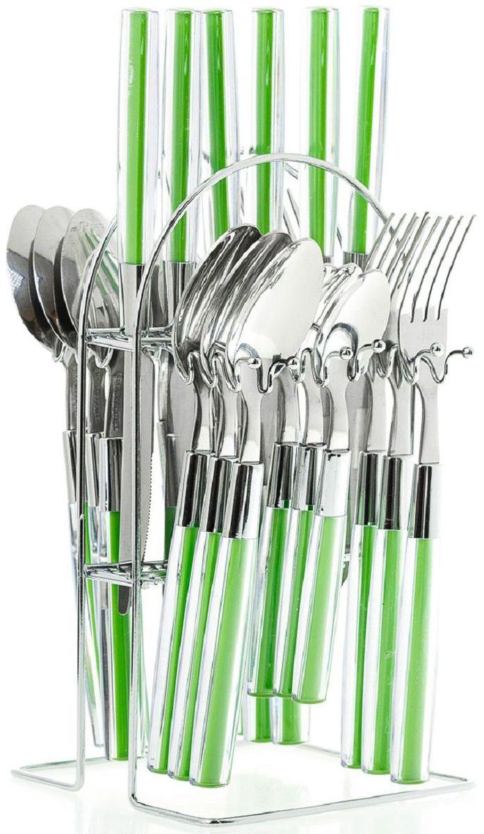 Набор столовых приборов Elff Decor, на подставке, цвет: зеленый, 25 предметов. 1400-001115610Столовый набор из 25 предметов Высококачественная нержавеющая сталь 18/10 Ручки из цветного пластика Состоит из:-столовые ложки-6 шт.-вилки-6 шт.-ножи-6 шт.-чайные ложки-6 шт.-подставка из нержавеющей стали
