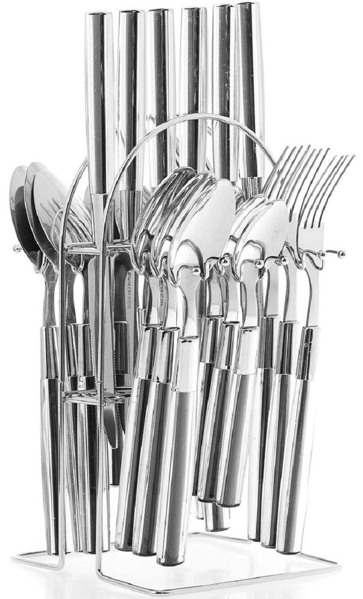 Набор столовых приборов Elff Decor, на подставке, цвет: черный, 25 предметов. 1400-004115510Столовый набор из 25 предметов Высококачественная нержавеющая сталь 18/10 Ручки из цветного пластика Состоит из:-столовые ложки-6 шт.-вилки-6 шт.-ножи-6 шт.-чайные ложки-6 шт.-подставка из нержавеющей стали