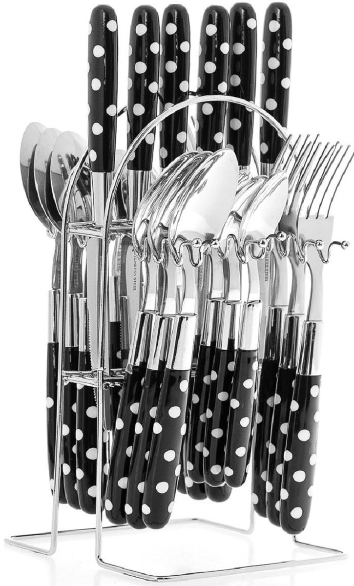 Набор столовых приборов Elff Decor, на подставке, цвет: черный, 25 предметов. 1400-008115610Столовый набор из 25 предметов Высококачественная нержавеющая сталь 18/10 Ручки из цветного пластика в горошек Состоит из:-столовые ложки-6 шт.-вилки-6 шт.-ножи-6 шт.-чайные ложки-6 шт.-подставка из нержавеющей стали