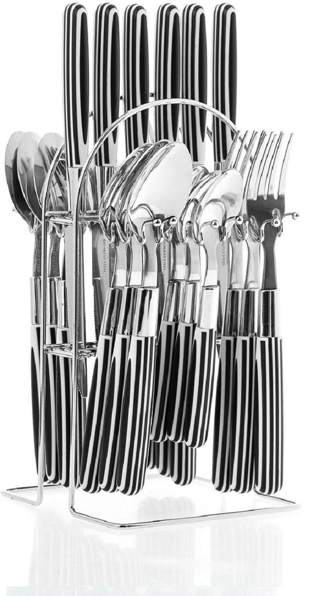 Набор столовых приборов Elff Decor, на подставке, цвет: черный, 25 предметов. 1400-012115510Столовый набор из 25 предметов Высококачественная нержавеющая сталь 18/10 Ручки из цветного пластика в полоску Состоит из:-столовые ложки-6 шт.-вилки-6 шт.-ножи-6 шт.-чайные ложки-6 шт.-подставка из нержавеющей стали