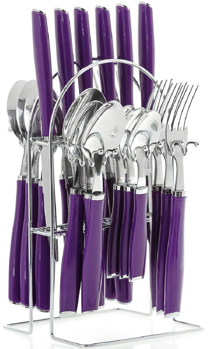 Набор столовых приборов Elff Decor, на подставке, цвет: фиолетовый, 25 предметов. 1400-015115510Столовый набор из 25 предметов Высококачественная нержавеющая сталь 18/10 Ручки из цветного пластика и нержавеющей стали Состоит из:-столовые ложки-6 шт.-вилки-6 шт.-ножи-6 шт.-чайные ложки-6 шт.-подставка из нержавеющей стали