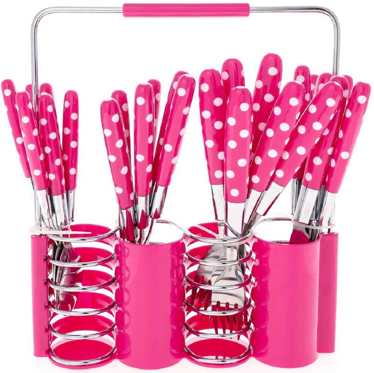 Набор столовых приборов Elff Decor, на подставке, цвет: розовый, 25 предметов. 1400-022115510Столовый набор из 25 предметов Высококачественная нержавеющая сталь 18/10 Ручки из цветного пластика в горошек Состоит из:-столовые ложки-6 шт.-вилки-6 шт.-ножи-6 шт.-чайные ложки-6 шт.-подставка из нержавеющей стали и цветного пластика