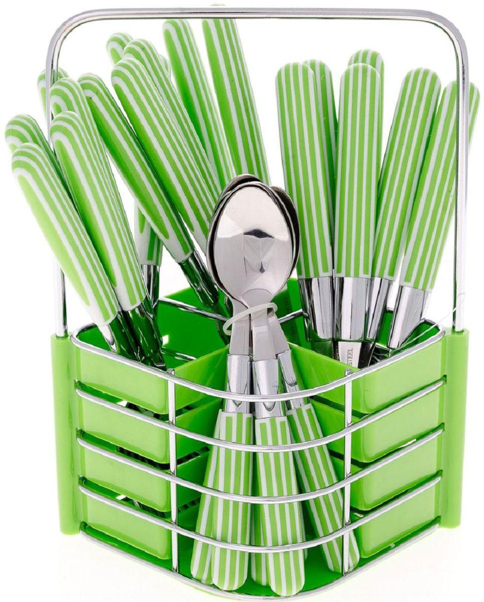 Набор столовых приборов Elff Decor, на подставке, цвет: зеленый, 25 предметов115510Столовый набор из 25 предметов Высококачественная нержавеющая сталь 18/10 Ручки из цветного пластика в полоску Состоит из:-столовые ложки-6 шт.-вилки-6 шт.-ножи-6 шт.-чайные ложки-6 шт.-подставка из нержавеющей стали и и цветного пластика