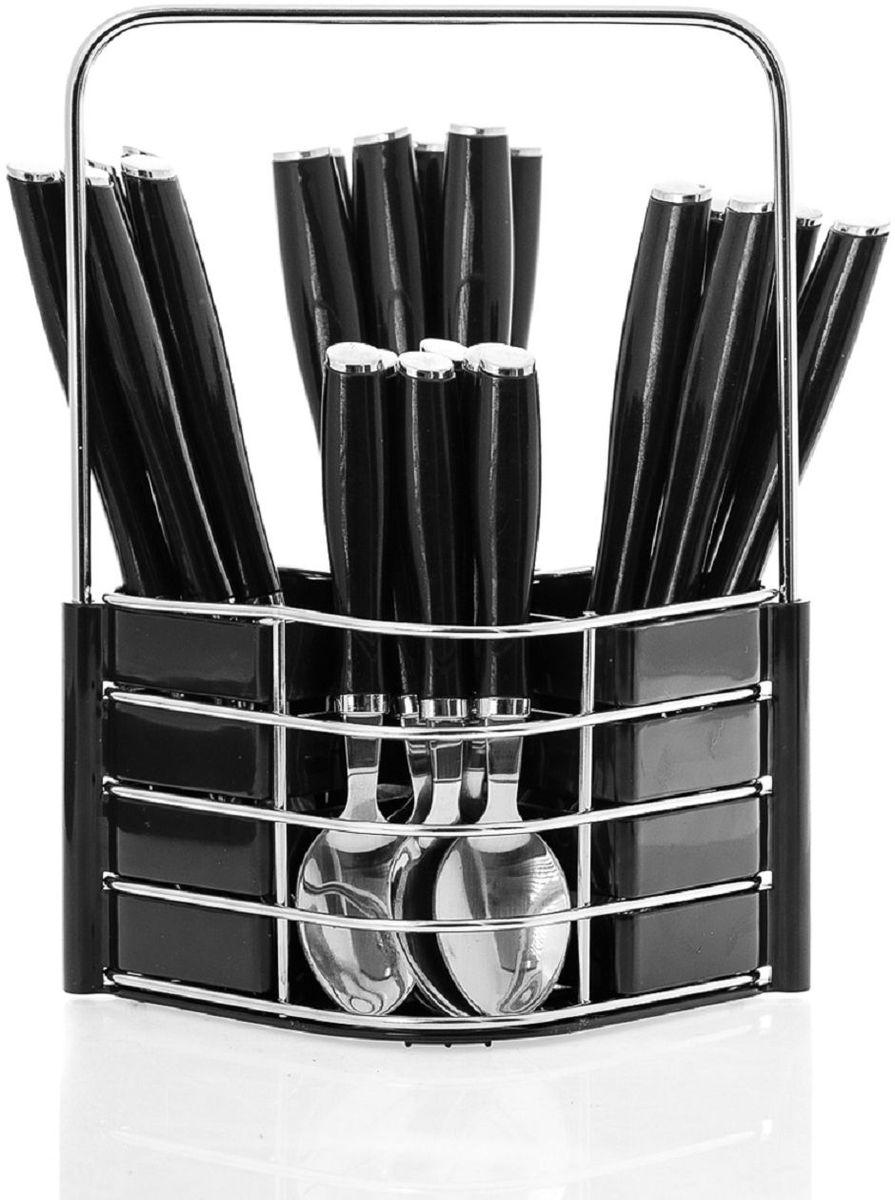 Набор столовых приборов Elff Decor, на подставке, цвет: черный, 25 предметов. 1400-048115510Столовый набор из 25 предметов Высококачественная нержавеющая сталь 18/10 Ручки из цветного пластика и нержавеющей стали Состоит из:-столовые ложки-6 шт.-вилки-6 шт.-ножи-6 шт.-чайные ложки-6 шт.-подставка из нержавеющей стали и и цветного пластика