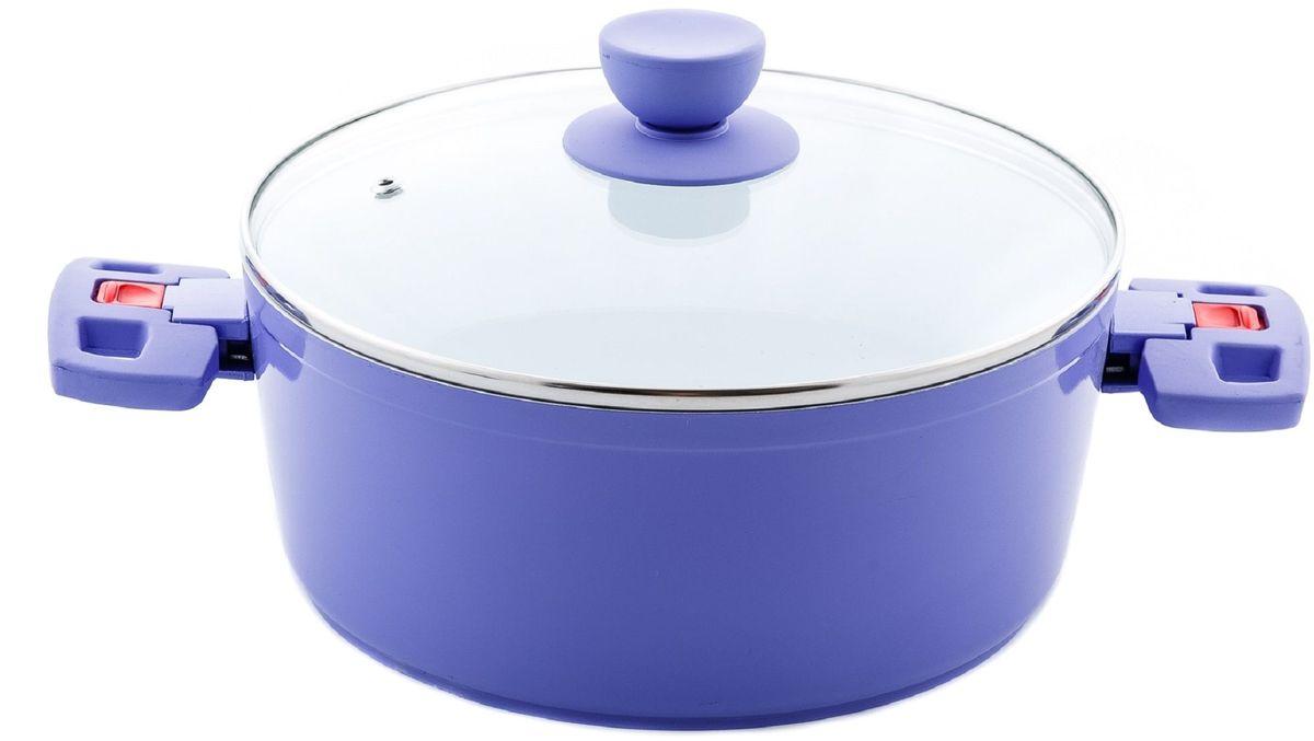 Кастрюля Elff Decor с крышкой, с керамическим покрытием, цвет: фиолетовый, 3,6 л94672Кастрюля Изготовлена из литого алюминия с цветным внешним покрытием Внутреннее покрытие-стойкая белая керамика 3-х слойное капсульное дно обеспечивает равномерное нагревание Стеклянная крышка Складные бакелитовые ручки Пригодна для мытья в посудомоечной машине..Диаметр - 24 см Ёмкость- 3,6 л.