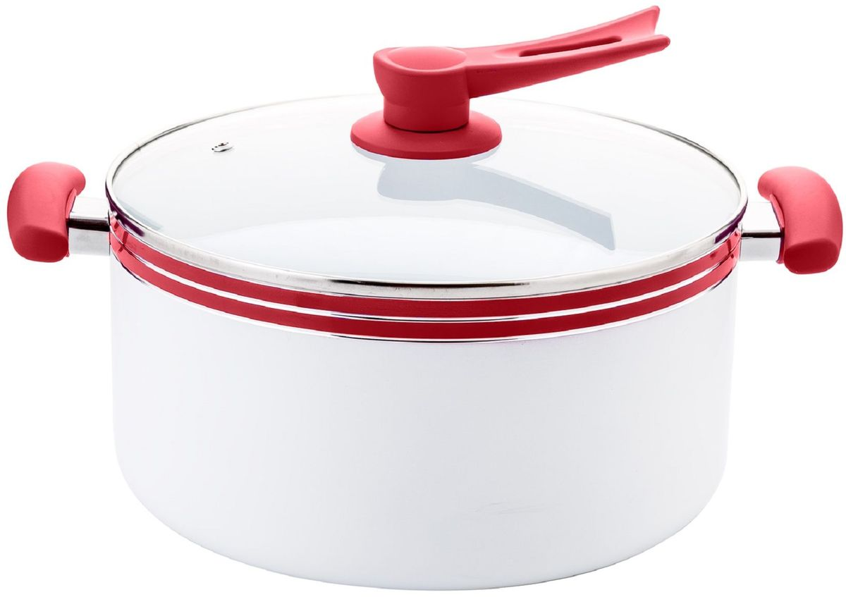 Кастрюля Elff Decor с крышкой, с керамическим покрытием, цвет: красный, 8,1 л1400-209Кастрюля Изготовлена из алюминия с керамическим покрытием внутри Ненагревающиеся силиконовые цветные ручки Стеклянная крышка Прочный и стойкий литой алюминий Подходит для использования на всех типах кухонных плит, включая индукцию Пригодна для мытья в посудомоечной машине. d.28 см Емкость-8,1 л