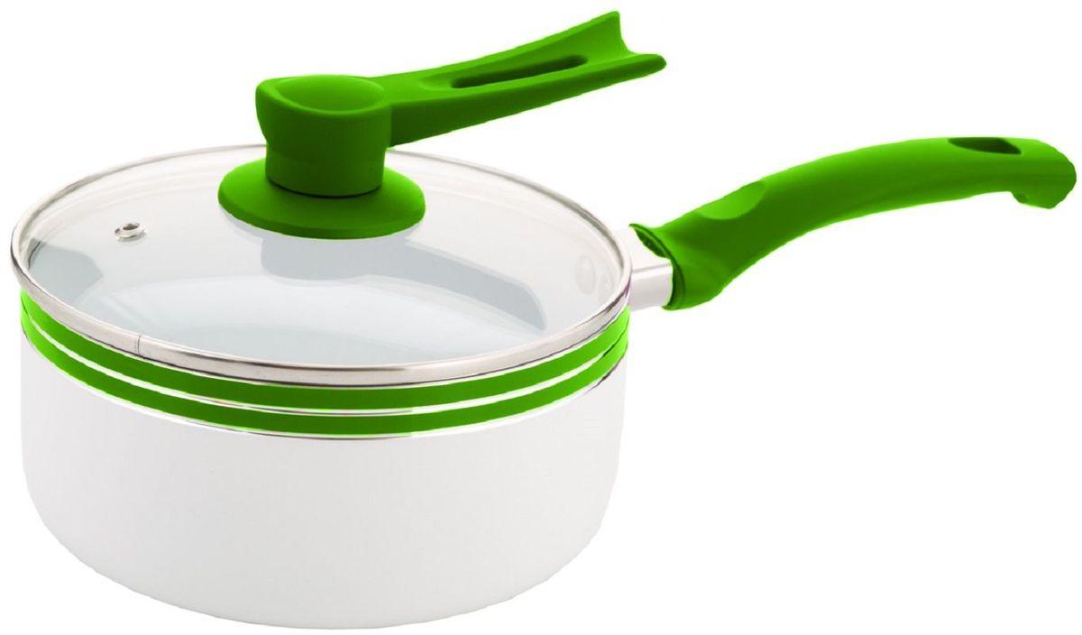 Ковш Elff Decor с крышкой, с керамическим покрытием, цвет: зеленый, 2,1 л2427012001Ковш Изготовлен из алюминия с керамическим покрытием внутри Ненагревающиеся силиконовые цветные ручки Стеклянная крышка Прочный и стойкий литой алюминий Подходит для использования на всех типах кухонных плит, включая индукцию Пригодна для мытья в посудомоечной машине. d.18 см Емкость- 2,1 л