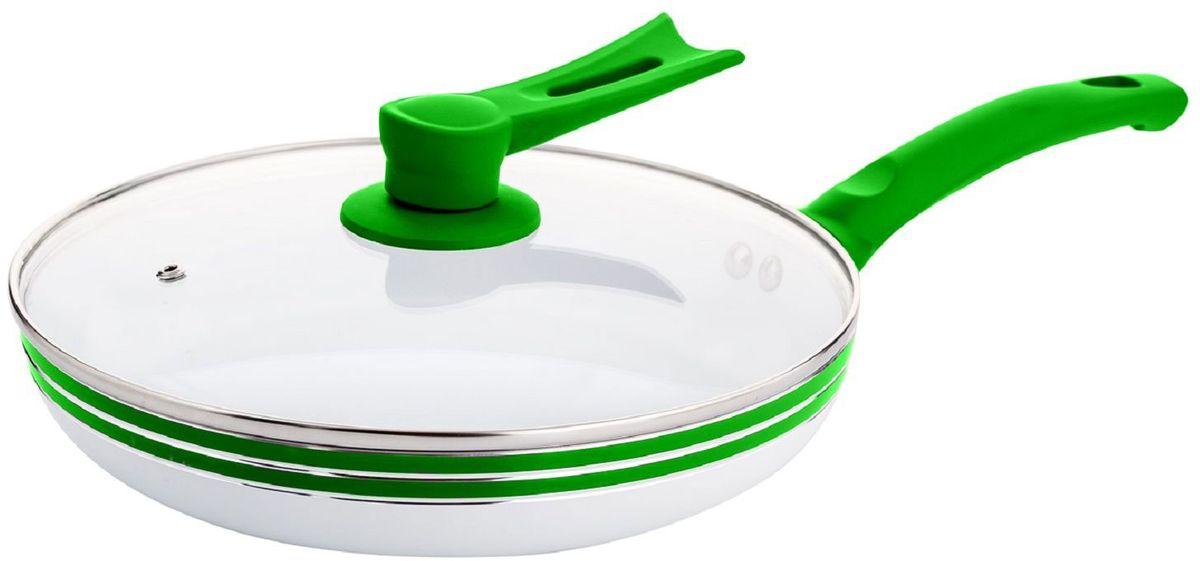 Сковорода Elff Decor с крышкой, с керамическим покрытием, цвет: зеленый. Диаметр 22 смFS-80299Сковорода Изготовлена из алюминия Антипригарное керамическое покрытие белого цвета:Прозрачная стеклянная крышка Ручки из цветного силикона Подходит для всех источников нагрева Легко чистится Можно мыть в посудомоечной машине d. 22 см