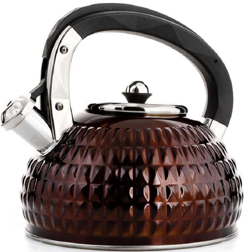 Чайник Elff Decor, со свистком, цвет: коричневый, 3 л115510Чайник со свистком Высококачественная нержавеющая сталь18/10 с цветным покрытием 3-х слойное дно Новый дизайн Ручка выполнена из черного пластика Подходит для всех источников нагрева Ёмкость: 3,0 л.