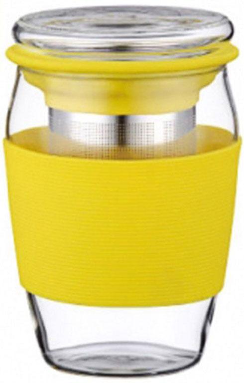 Стакан заварочный Elff Decor, с крышкой и фильтром, цвет: желтый, 500 мл1400-821-4Заварочный стакан с крышкой Стакан и крышка изготовлены из боросиликатного (термостойкого) стекла Фильтр изготовлен из нержавеющей стали Край фильтра обрамлен цветным силиконом Стакан имеет силиконовый держатель, для предохранения рук от высокой температуры напитка Объем-500 мл