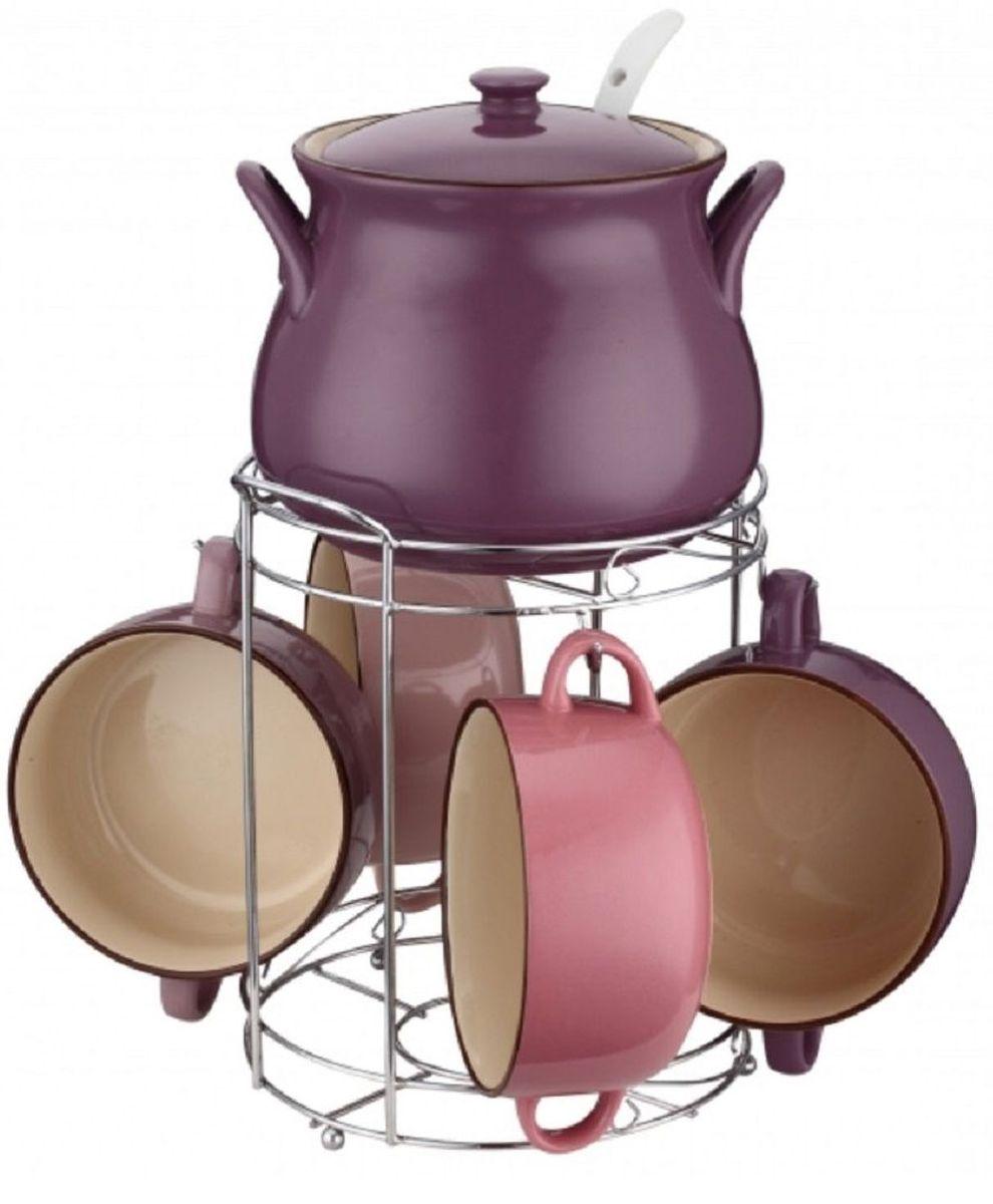 Набор супниц Elff Decor, на подставке, 8 предметов1400-871Набор супниц из 8 предметов Изготовлен из цветной керамики Состоит из:-супница с крышкой 1шт-объем 2500 мл-супницы 4 шт,обьем 800мл-суповая ложка-подставка из нержавеющей стали.