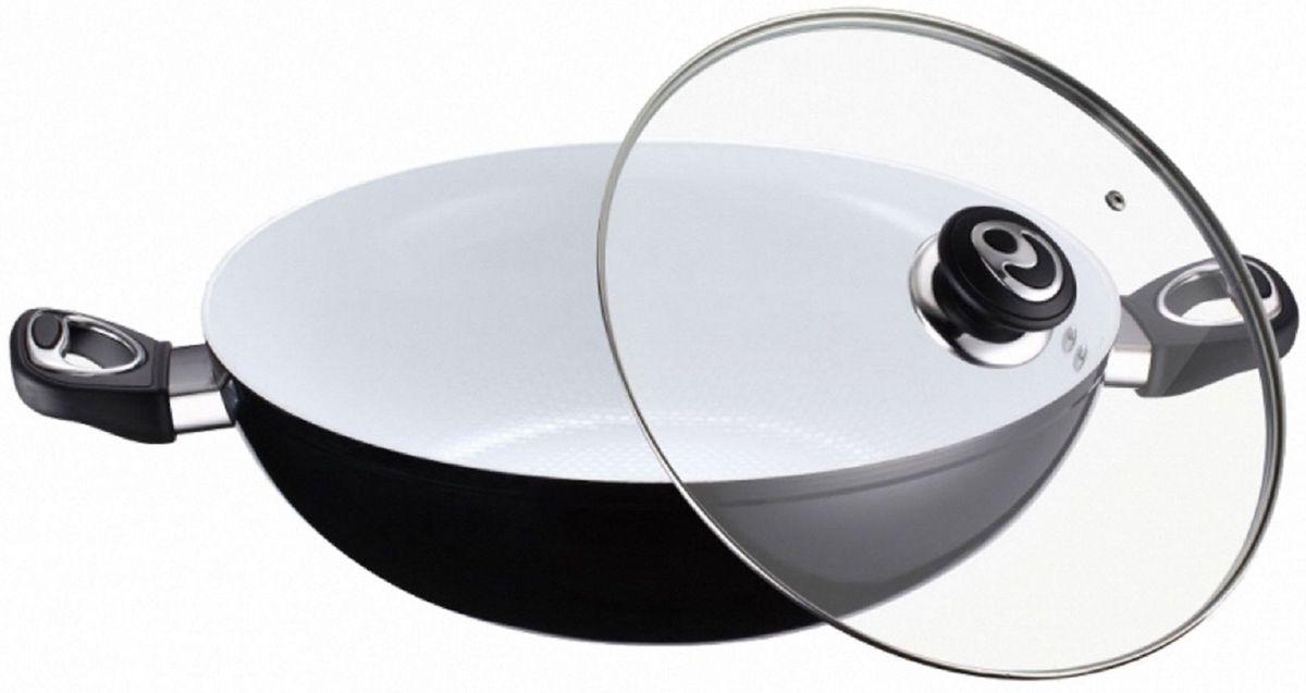 Казан Elff Decor с крышкой, с керамическим покрытием. Диаметр 30 см115510Казан Изготовлен из алюминия с белым керамическим покрытием на внутренней поверхности Стеклянная крышка с возможностью выпуска пара Клепанные ручки из пластика и нержавеющей стали Легко чистится Подходит для всех видов плит, включая индукцию d.30 см