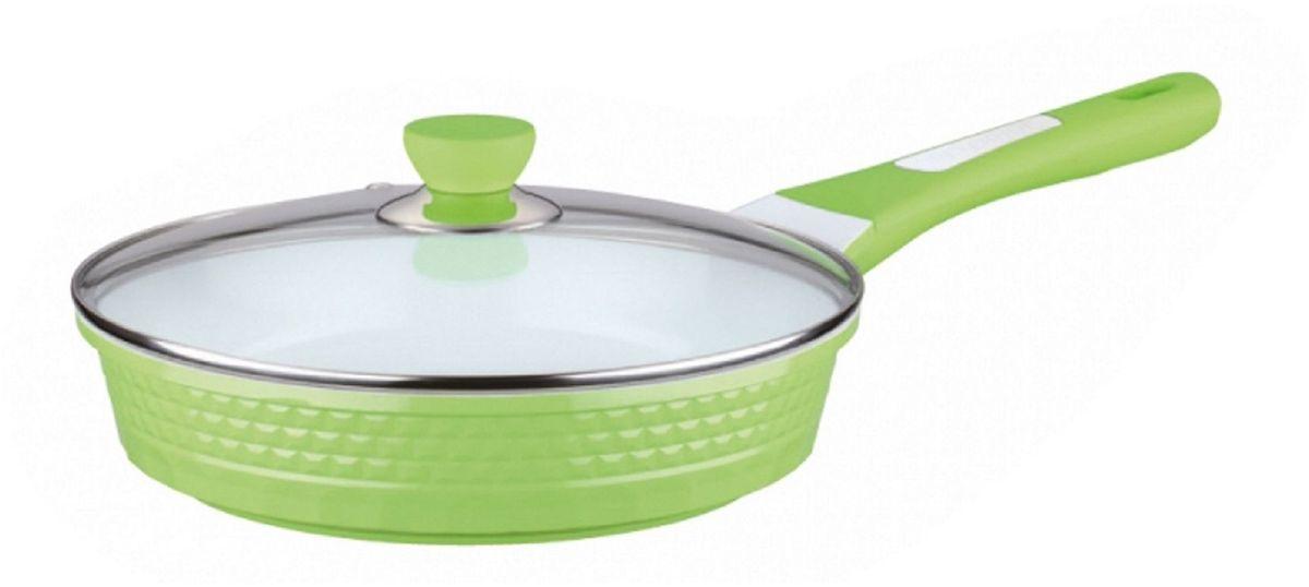Сковорода Elff Decor с крышкой, с керамическим покрытием, цвет: зеленый. Диаметр 28 смFS-80299Сковорода 4D Изготовлена из литого алюминия Антипригарное керамическое покрытие белого цвета Прозрачная стеклянная крышка Подходит для всех источников нагрева Легко чистится Можно мыть в посудомоечной машине d. 28 см