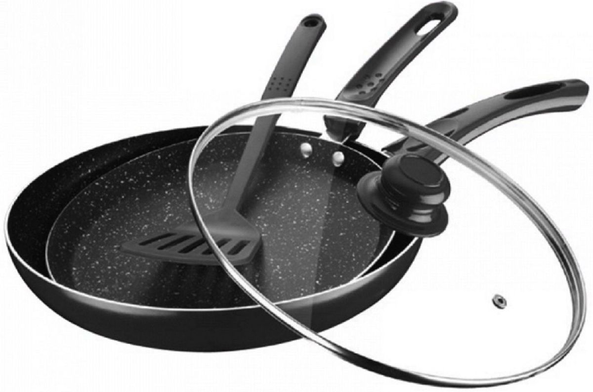 Набор сковородок Elff Decor с крышкой, с лопаткой, цвет: черный, 4 предмета115510Комплект из 2 сковород 1 крышка,лопатка Изготовлены из листового алюминия с мраморным покрытием, которое гарантирует отсутствие пригорание пищи. Экологичны. Подходят для всех видов плит, в т.ч. индукционнах, Размеры d.24 и 28см,высота 2 и 5см