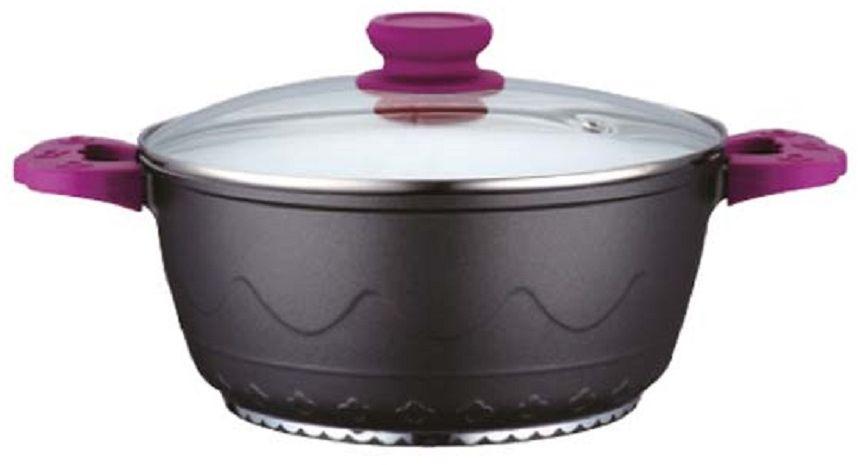 Кастрюля Elff Decor с крышкой, с керамическим покрытием, цвет: фиолетовый, 2 л94672Кастрюля Изготовлена из алюминия Внутреннее покрытие-стойкая белая керамика 3-х слойное капсульное дно обеспечивает равномерное нагревание Стеклянная крышка Ненагревающие ручки со съемными силиконовыми ручками Пригодна для использования в духовке Пригодна для мытья в посудомоечной машине. d.20 см Ёмкость 2,0 л.
