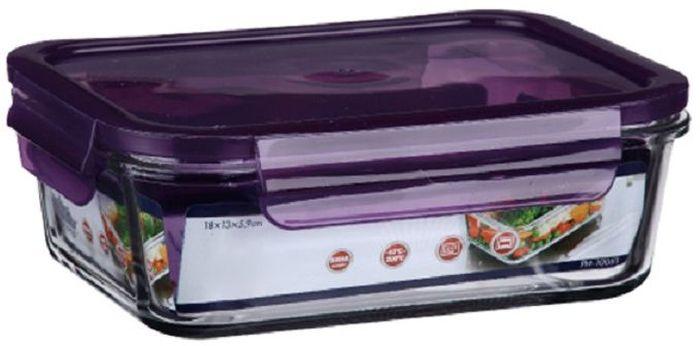 Контейнер для продуктов Elff Decor, цвет: фиолетовый, 800 мл1407-126Контейнер для хранения и запекания с герметичной крышкой Изготовлена из жаропрочного стекла Температурный режим:-40С до 200С Размер: 18 х 13 х 5,9 см Объем-0,8 л