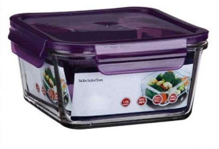 Контейнер для продуктов Elff Decor, цвет: фиолетовый, 400 мл1407-129Контейнер для хранения и запекания с герметичной крышкой Изготовлена из жаропрочного стекла Температурный режим:-40С до 200С Размер: 11,5 х 11,5 х 5,7 см Объем-0,4 л