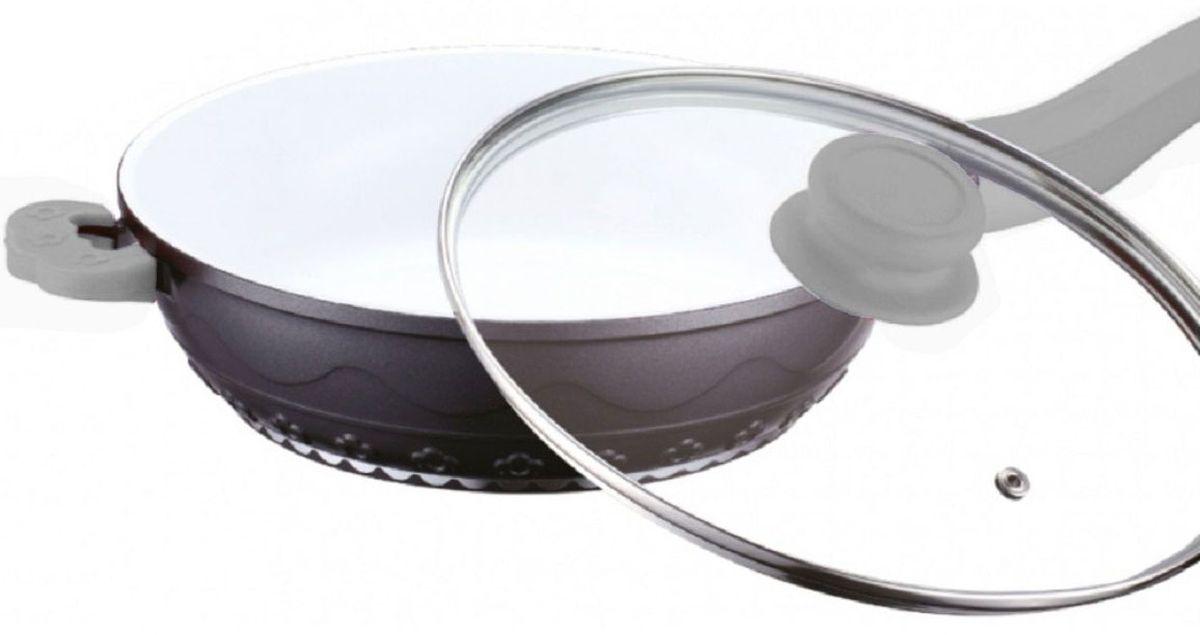 Сковорода Elff Decor с крышкой, с керамическим покрытием, цвет: серый. Диаметр 24 см94672Сковорода Алюминиевая сковорода с белым керамическим покрытием Силиконовые ручки Стеклянная крышка d.24 см
