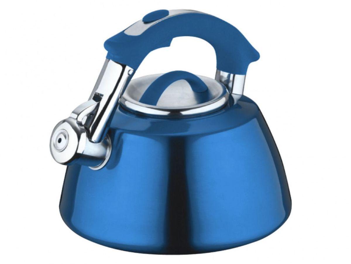 Чайник Elff Decor, со свистком, цвет: синий, 3 л115510Чайник со свистком Высококачественная нержавеющая сталь 18/10 с цветным покрытием Ненагревающаяся ручка из цветного силикона Удобная крышка из нержавеющей стали Походит для все видов плит, кроме индукции Ёмкость- 3,0 л.