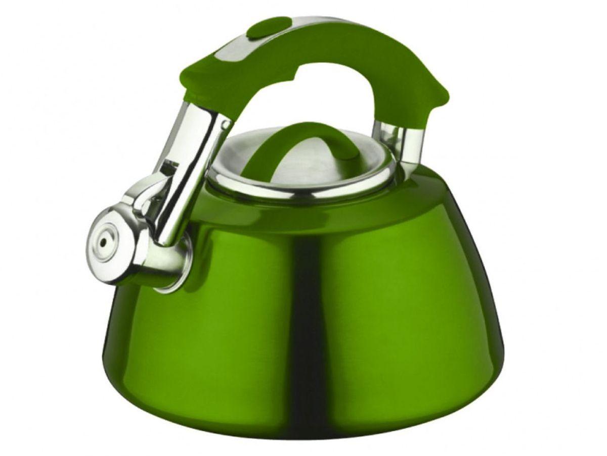 Чайник Elff Decor, со свистком, цвет: зеленый, 3 л115510Чайник со свистком Высококачественная нержавеющая сталь 18/10 с цветным покрытием Ненагревающаяся ручка из цветного силикона Удобная крышка из нержавеющей стали Походит для все видов плит, кроме индукции Ёмкость- 3,0 л.