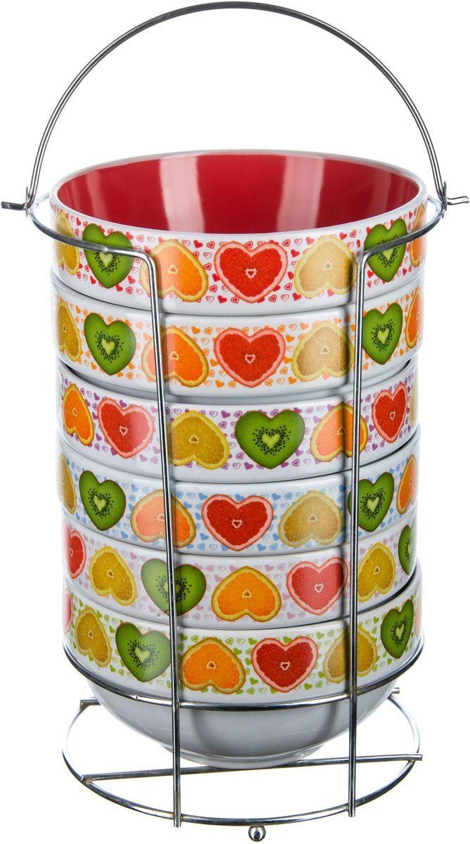 Набор салатников Elff Decor Сердечки, на подставке, 660 мл, 7 предметов1407-295Набор салатников из 7 предметов Салатники изготовлаены из керамики с цветным покрытием (6 шт) Объем-660 мл, d.14 см Подставка изготовлена из нержавеющей стали.