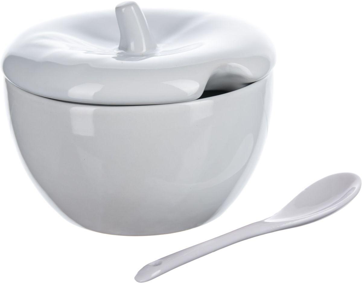 Сахарница Elff Decor, с крышкой, с ложкой, цвет: белый, 450 мл115510Сахарница с крышкой и ложечкой Изготовлена из цветной керамики Объем-450 мл Гладкая поверхность