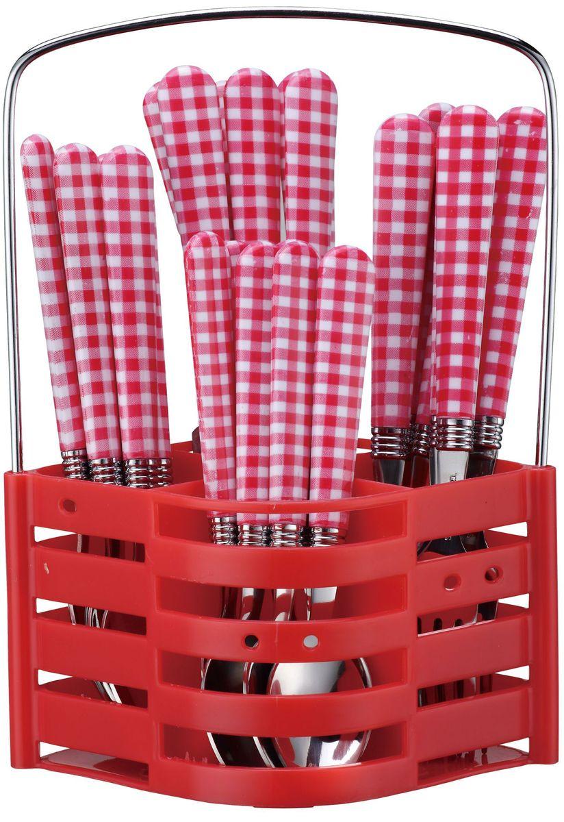 Набор столовых приборов Elff Decor, на подставке, цвет: красный, 25 предметов115510Столовый набор Состоит из 25 предметов. Высококачественная нержавеющая сталь. Ручки из цветного пластика и нержавеющей стали. Состоит из: -столовая ложка - 6 шт. -вилка - 6 шт. -нож - 6 шт. -чайная ложка - 6 шт. -подставка из нержавеющей стали и цветного пластика.