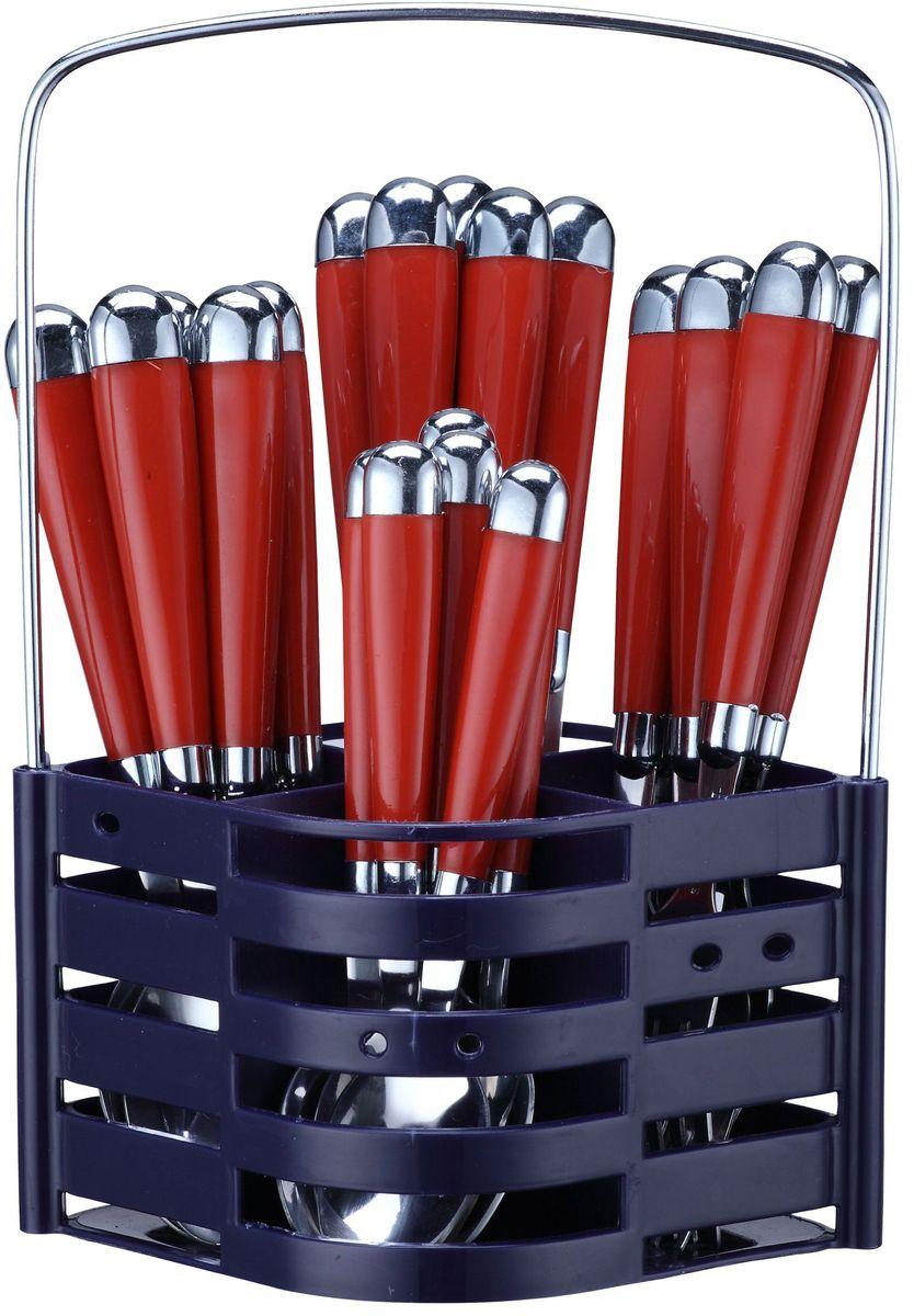 Набор столовых приборов Elff Decor, на подставке, цвет: красный, 25 предметов. 1407-423115510Столовый набор Состоит из 25 предметов. Высококачественная нержавеющая сталь. Ручки из цветного пластика и нержавеющей стали. Состоит из: -столовая ложка - 6 шт. -вилка - 6 шт. -нож - 6 шт. -чайная ложка - 6 шт. -подставка из нержавеющей стали и цветного пластика.