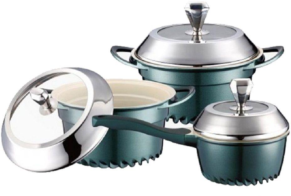 Набор посуды Elff Decor с крышками, с керамическим покрытием, цвет: зеленый, 6 предметов115510Набор посуды (кастрюли+ковш) Изготовлен из литого алюминия Внутреннее антипригарное покрытие - стойкая керамика Стеклянная крышка с элементами из нержавеющей стали Не нагревающие ручки Пригодна для мытья в посудомоечной машине Состоит из: -Ковш- d.16 x 8,5 см - 1,1 л. -Кастрюля - d.20 x 10см, объем- 2,5 л. -Кастрюля - d.24 x 13,5 см, объем- 4,5 л.