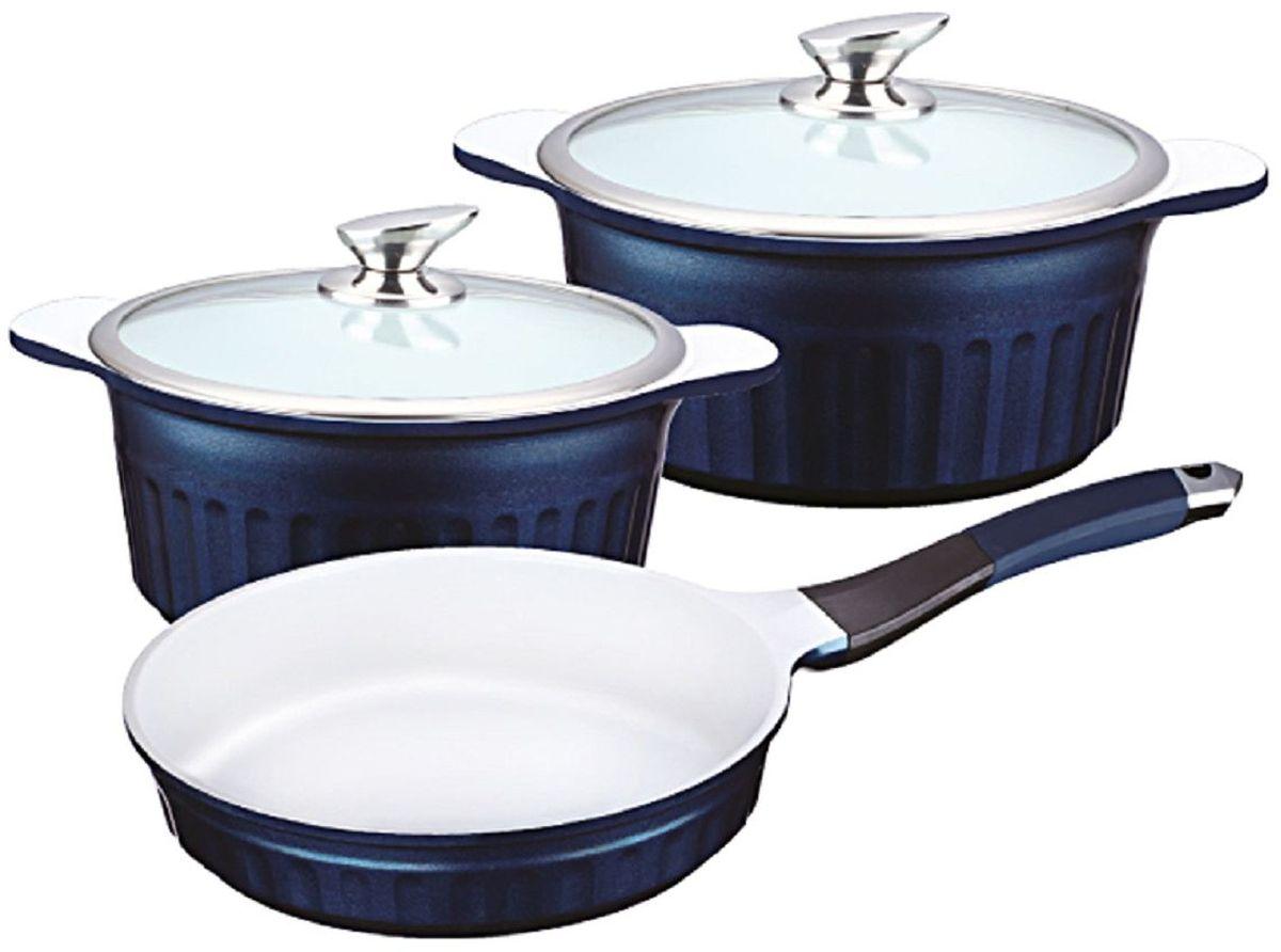 Набор посуды Elff Decor с крышками, с керамическим покрытием, цвет: синий, 5 предметов115510Набор посуды из 5 предметов Изготовлен из литого алюминия Внутреннее антипригарное покрытие - стойкая белая керамика Стеклянная крышка Не нагревающие ручки со съемными силиконовыми ручками Подходит для всех видов плит Пригодна для мытья в посудомоечной машине Состоит из: -Кастрюля с крышкой- d.20х9,5 см, объем - 2,4 л. -Кастрюля с крышкой - d.24х11,5 см, объем- 4,2 л. -Сковорода - d.24х5,5 см, объем- 1,9 л.