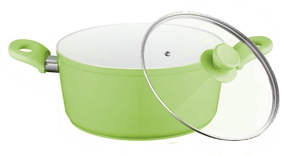Кастрюля Elff Decor с крышкой, с керамическим покрытием, цвет: зеленый, 3,6 л94672Кастрюля изготовлена из алюминия с керамическим покрытием Не нагревающиеся силиконовые ручки Стеклянная крышка Прочный и стойкий литой алюминий Подходит для использования на всех типах кухонных плит, включая индукцию Пригодна для мытья в посудомоечной машине. d.24х10,5 см Емкость - 3,6 л