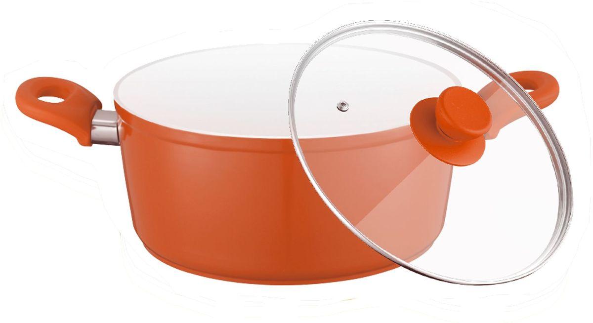 Кастрюля Elff Decor с крышкой, с керамическим покрытием, цвет: оранжевый, 4,5 л94672Кастрюля изготовлена из алюминия с керамическим покрытием Не нагревающиеся силиконовые ручки Стеклянная крышка Прочный и стойкий литой алюминий Подходит для использования на всех типах кухонных плит, включая индукцию Пригодна для мытья в посудомоечной машине. d.26х10,7 см Емкость - 4,5 л