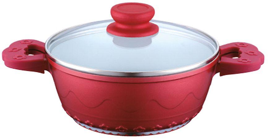 Кастрюля Elff Decor с крышкой, с керамическим покрытием, цвет: красный, 4 лFS-80418Кастрюля изготовлена из литого алюминия с цветным внешним покрытием Внутреннее покрытие - стойкая белая керамика 3-х слойное капсульное дно обеспечивает равномерное нагревание Стеклянная крышка Не нагревающие ручки со съемными силиконовыми накладками Пригодна для мытья в посудомоечной машине. d.24х11,5 см Ёмкость 4,0 л.
