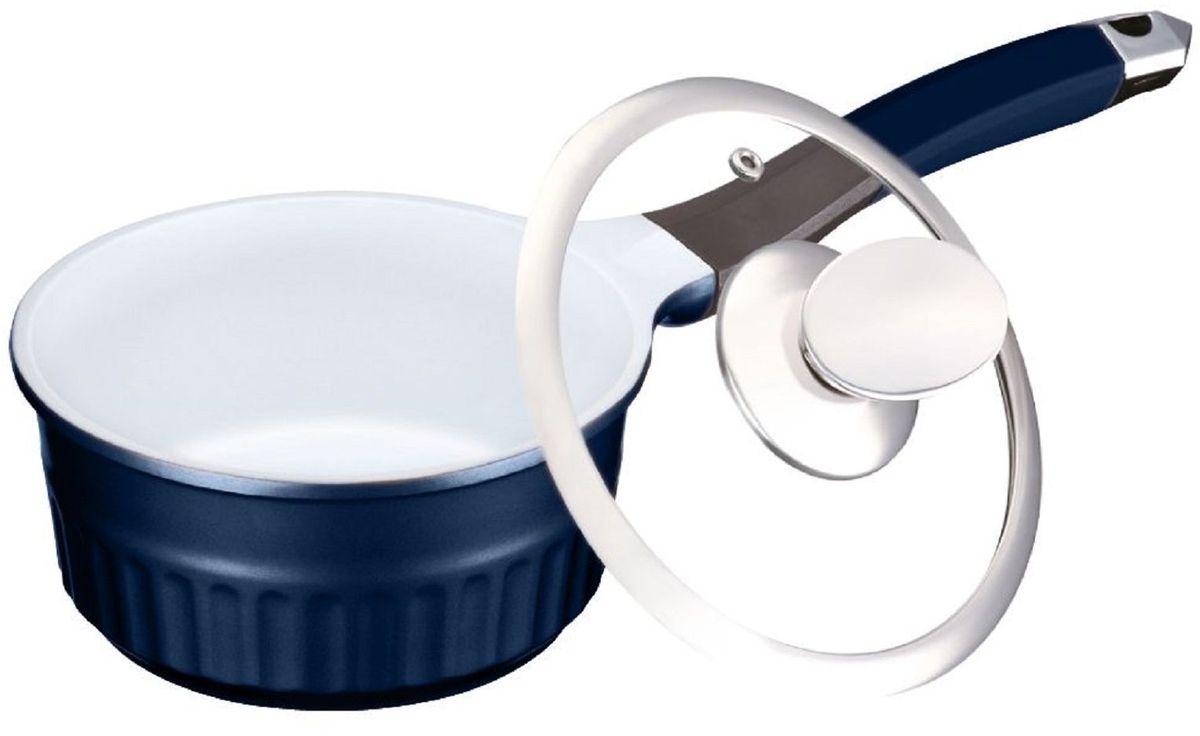 Ковш Elff Decor с крышкой, цвет: синий, 1,3 л1301210Ковш Изготовлен из алюминия с керамическим покрытием Стеклянная крышка Прочный и стойкий литой алюминий Подходит для использования на всех типах кухонных плит, включая индукцию Пригодна для мытья в посудомоечной машине. d.16х8,5 см Емкость - 1,3 л
