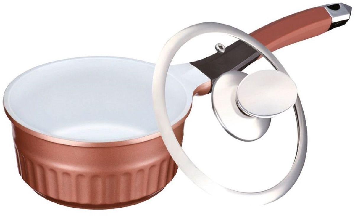 Ковш Elff Decor с крышкой, цвет: коричневый, 1,3 л67742Ковш Изготовлен из алюминия с керамическим покрытием Стеклянная крышка Прочный и стойкий литой алюминий Подходит для использования на всех типах кухонных плит, включая индукцию Пригодна для мытья в посудомоечной машине. d.16х8,5 см Емкость - 1,3 л