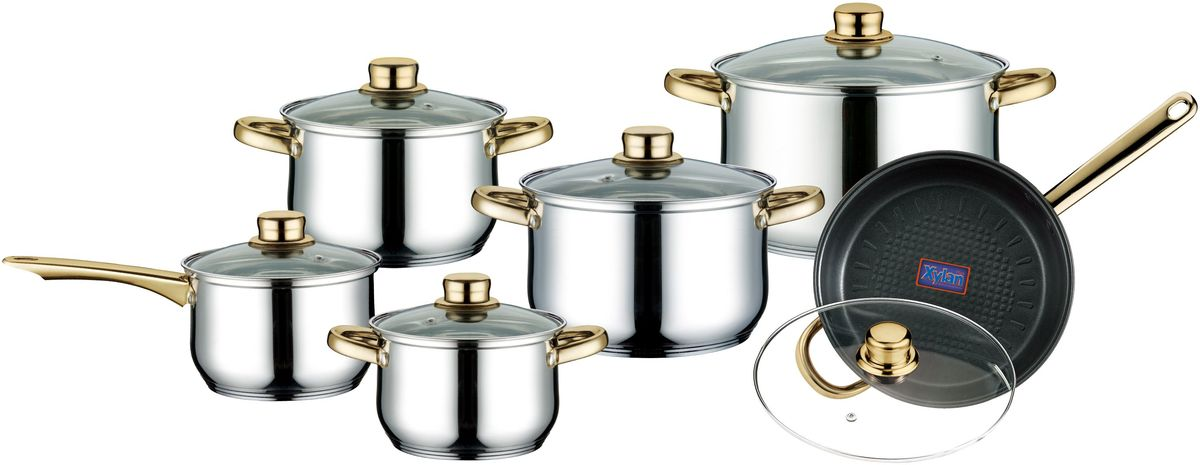Набор посуды Elff Decor с крышками, 12 предметов. 1407-569115510Набор посуды из 12 предметов Высококачественная нержавеющая сталь 18/10 3-х слойное дно с повышенной термоотдачей Клепанные Не нагревающиеся ручки из нержавеющей стали с золотистым напылением Пригодна для мытья в посудомоечной машине Быстрый нагрев пищи, длительное удержание тепла. Подходит для использования на всех типах кухонных плит Набор состоит из: -Ковшик со стеклянной крышкой d.16 см, емкость – 2,2 л -Кастрюля со стеклянной крышкой d.16 см, емкость – 2,2 л -Кастрюля со стеклянной крышкой d.18 см, емкость – 3,0 л -Кастрюля со стеклянной крышкой d.20 см, емкость – 4,0 л -Кастрюля со стеклянной крышкой d.24 см – 6,5 л -Сковорода со стеклянной крышкой d.24 см, емкость – 3,5 л